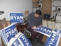 Jeremy preparing yard signs